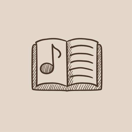 music book: Music book sketch icon for web, mobile and infographics. Hand drawn vector isolated icon.