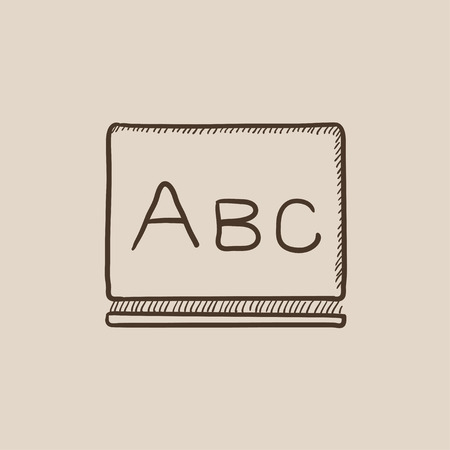 Letters abc on the blackboard sketch icon for web, mobile and infographics. Hand drawn vector isolated icon.