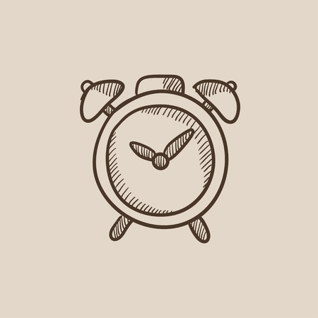 Alarm clock sketch icon for web, mobile and infographics. Hand drawn vector isolated icon.