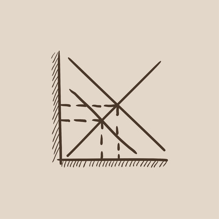 ordinate: Mathematical graph sketch icon for web, mobile and infographics. Hand drawn vector isolated icon. Illustration