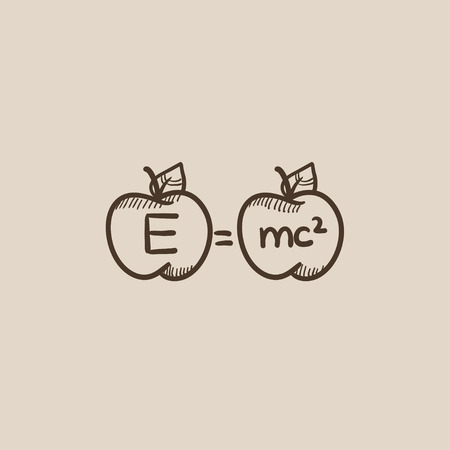 mc2: Two apples with formulae sketch icon for web, mobile and infographics. Hand drawn vector isolated icon.