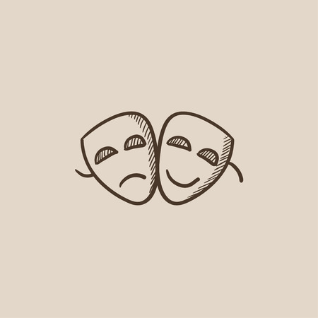 pessimistic: Two theatrical masks sketch icon for web, mobile and infographics. Hand drawn vector isolated icon. Illustration