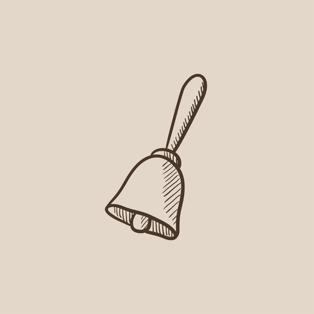ding dong: School bell sketch icon for web, mobile and infographics. Hand drawn vector isolated icon.