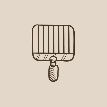grate: Empty barbecue grill grate sketch icon for web, mobile and infographics. Hand drawn vector isolated icon.