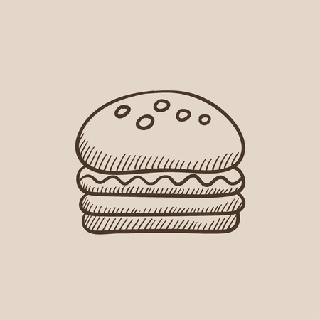 ハンバーガーは、web、モバイルのアイコンとインフォ グラフィックをスケッチします。手には、ベクトル分離アイコンが描画されます。