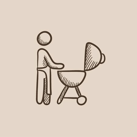 Man at kettle barbecue grill sketch icon for web, mobile and infographics. Hand drawn vector isolated icon. Stock Illustratie