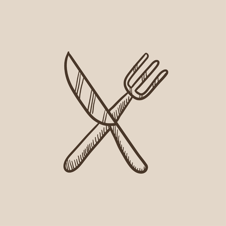 meat chopper: Crossed  knife and fork sketch icon for web, mobile and infographics. Hand drawn vector isolated icon. Illustration