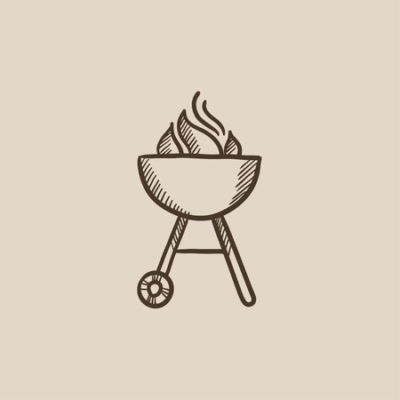 barbecue stove: Kettle barbecue grill with flame sketch icon for web, mobile and infographics. Hand drawn vector isolated icon. Illustration