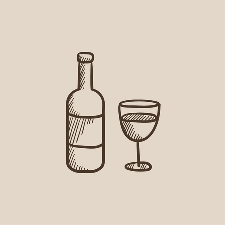 bourbon whisky: Bottle of wine sketch icon for web, mobile and infographics. Hand drawn vector isolated icon. Illustration