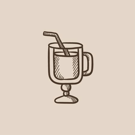 Glass with drinking straw sketch icon for web, mobile and infographics. Hand drawn vector isolated icon.