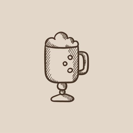 Glass mug with foam sketch icon for web, mobile and infographics. Hand drawn vector isolated icon.
