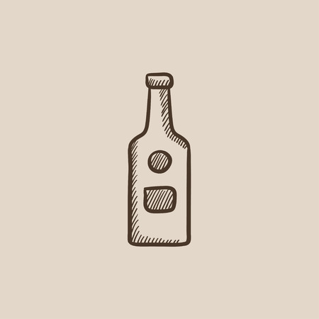 Glass bottle sketch icon for web, mobile and infographics. Hand drawn vector isolated icon. 向量圖像