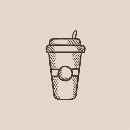 vaso desechable con el icono de boceto pajita para web, móvil y la infografía. aislado vector dibujado a mano icono.