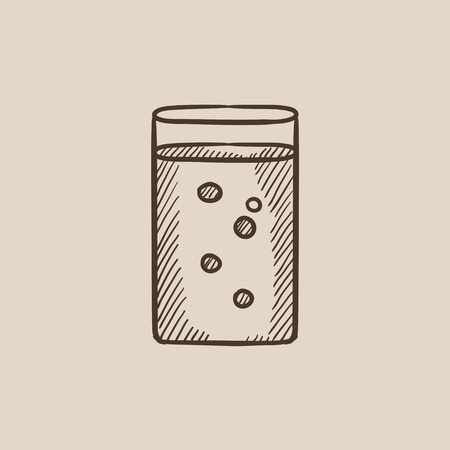 glass water: Glass of water sketch icon for web, mobile and infographics. Hand drawn vector isolated icon.
