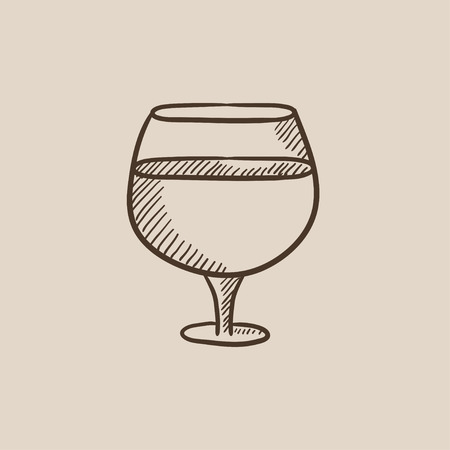 brandy: Glass of wine sketch icon for web, mobile and infographics. Hand drawn vector isolated icon. Illustration