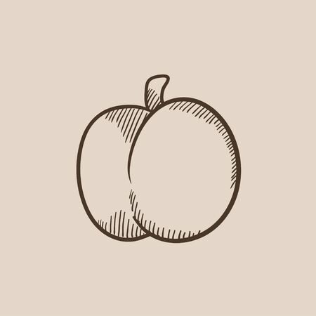 ripened: Plum with leaf sketch icon for web, mobile and infographics. Hand drawn vector isolated icon. Illustration