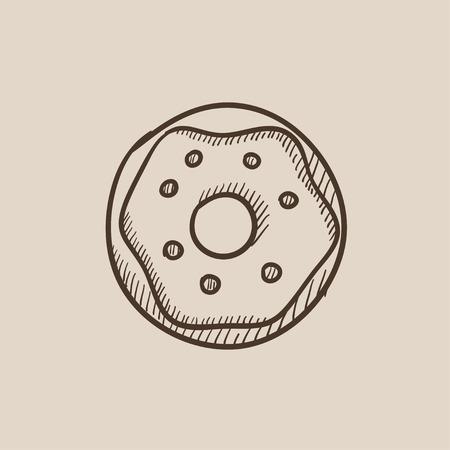 ドーナツは、web、モバイルのアイコンとインフォ グラフィックをスケッチします。手には、ベクトル分離アイコンが描画されます。