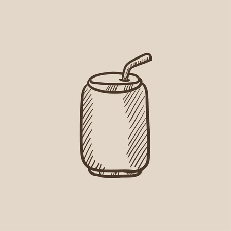 soda can: Soda can with drinking straw sketch icon for web, mobile and infographics. Hand drawn vector isolated icon. Illustration