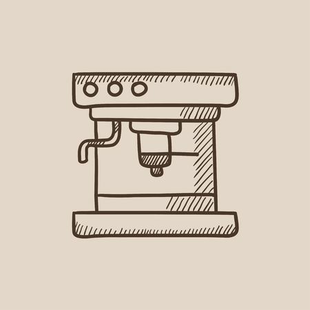 mobile device: Coffee maker sketch icon for web, mobile and infographics. Hand drawn vector isolated icon.