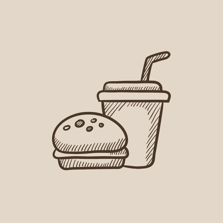junky: Fast food meal sketch icon for web, mobile and infographics. Hand drawn vector isolated icon. Illustration