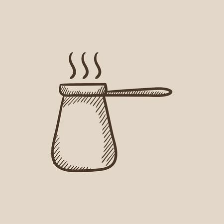 turk: Coffee turk sketch icon for web, mobile and infographics. Hand drawn vector isolated icon.