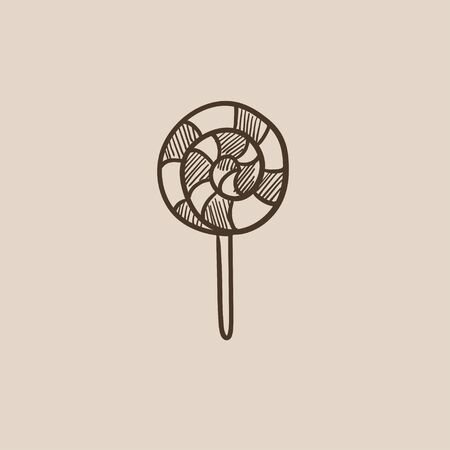 Spiral lollipop sketch icon for web, mobile and infographics. Hand drawn vector isolated icon.