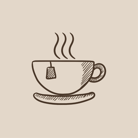 teaparty: Hot tea in a cup sketch icon for web, mobile and infographics. Hand drawn vector isolated icon. Illustration