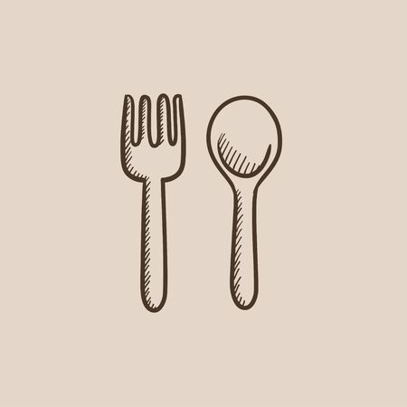meat chopper: Spoon and fork sketch icon for web, mobile and infographics. Hand drawn vector isolated icon. Illustration