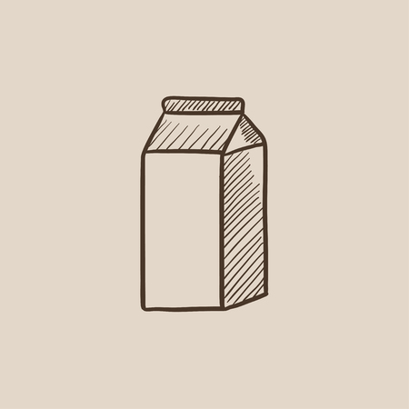 packaged: Packaged dairy product sketch icon for web, mobile and infographics. Hand drawn vector isolated icon.
