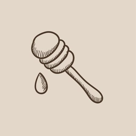 dipper: Honey dipper sketch icon for web, mobile and infographics. Hand drawn vector isolated icon.