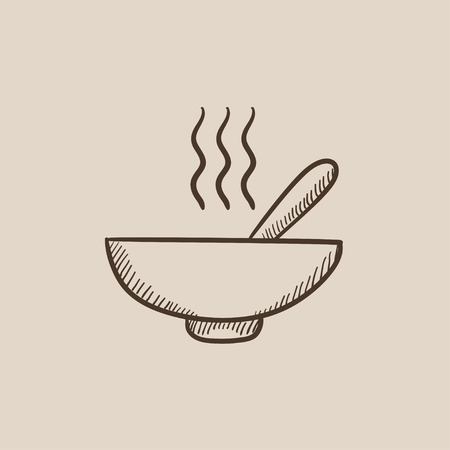 broth: Bowl of hot soup with spoon sketch icon for web, mobile and infographics. Hand drawn vector isolated icon.