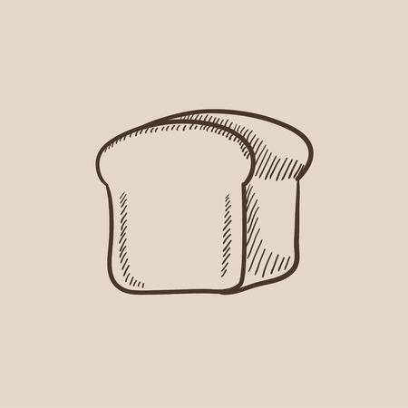 wholemeal: Half of bread sketch icon for web, mobile and infographics. Hand drawn vector isolated icon.