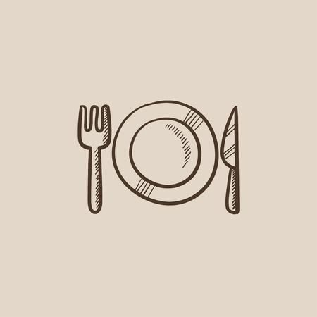 meat chopper: Plate with cutlery sketch icon for web, mobile and infographics. Hand drawn vector isolated icon. Illustration