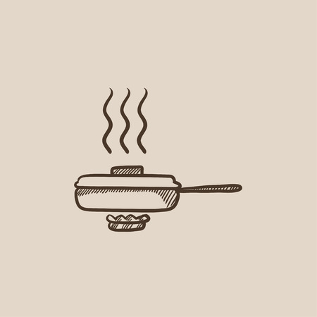steam cooker: Frying pan with cover sketch icon for web, mobile and infographics. Hand drawn vector isolated icon.