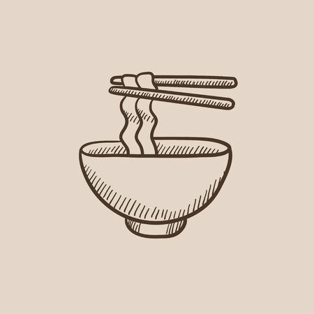 Bowl of noodles with a pair of chopsticks sketch icon for web, mobile and infographics. Hand drawn vector isolated icon.