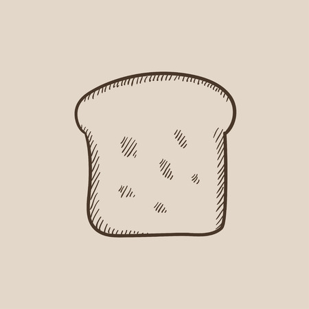 wholemeal: Single slice of bread sketch icon for web, mobile and infographics. Hand drawn vector isolated icon. Illustration