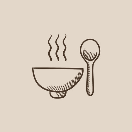Bowl of hot soup with spoon sketch icon for web, mobile and infographics. Hand drawn vector isolated icon.