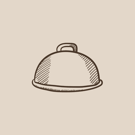 Restaurant cloche sketch icon for web, mobile and infographics. Hand drawn vector isolated icon.