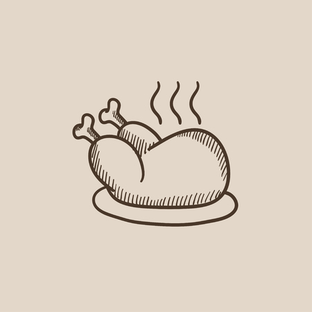whole chicken: Baked whole chicken sketch icon for web, mobile and infographics. Hand drawn vector isolated icon.