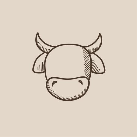 牛の頭は、web、モバイルのアイコンとインフォ グラフィックをスケッチします。手には、ベクトル分離アイコンが描画されます。  イラスト・ベクター素材
