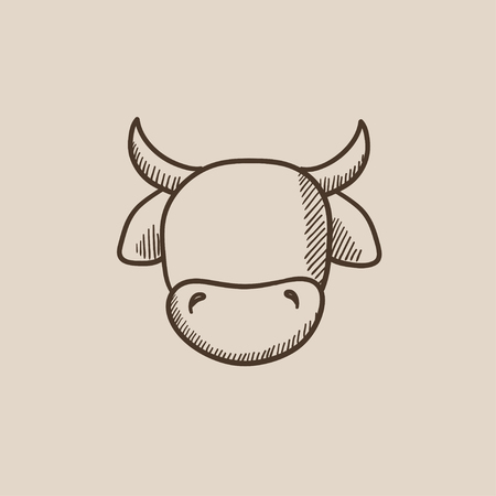 Cow head sketch icon for web, mobile and infographics. Hand drawn vector isolated icon.