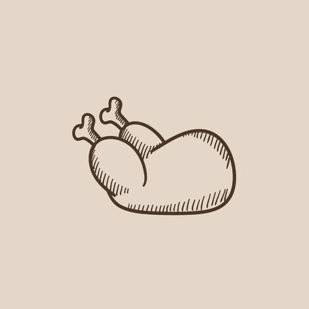 cock duck: Raw chicken sketch icon for web, mobile and infographics. Hand drawn vector isolated icon.