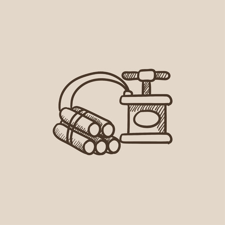 ignited: Dynamite and detonator sketch icon for web, mobile and infographics. Hand drawn vector isolated icon.