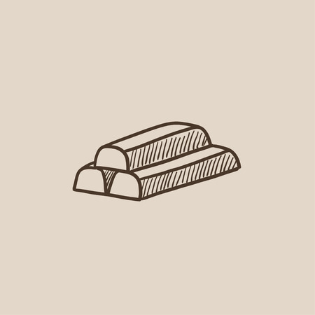 silver bullion: Golden bars sketch icon for web, mobile and infographics. Hand drawn vector isolated icon.