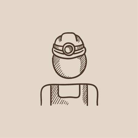 Coal Miner schets icoon voor web, mobiel en infographics. Hand getekend vector geïsoleerd pictogram. Stock Illustratie