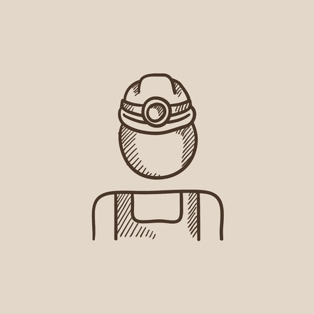 coal miner: Coal miner sketch icon for web, mobile and infographics. Hand drawn vector isolated icon.