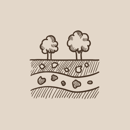 Cut of soil with different layers and trees on top sketch icon for web, mobile and infographics. Hand drawn vector isolated icon.