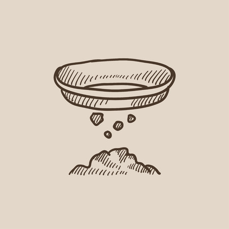 sifting: Bowl for sifting gold sketch icon for web, mobile and infographics. Hand drawn vector isolated icon. Illustration