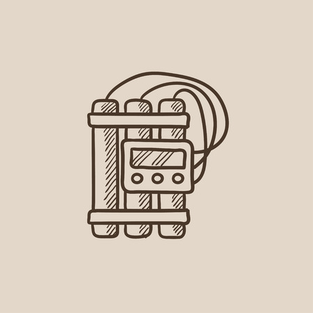 Dynamite and detonator sketch icon for web, mobile and infographics. Hand drawn vector isolated icon.