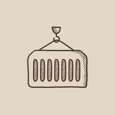 Container lifted by a crane sketch icon for web, mobile and infographics. Hand drawn vector isolated icon. Illustration